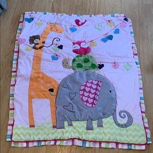 Lambs & Ivy crib quilt skirt girl elephant giraffe